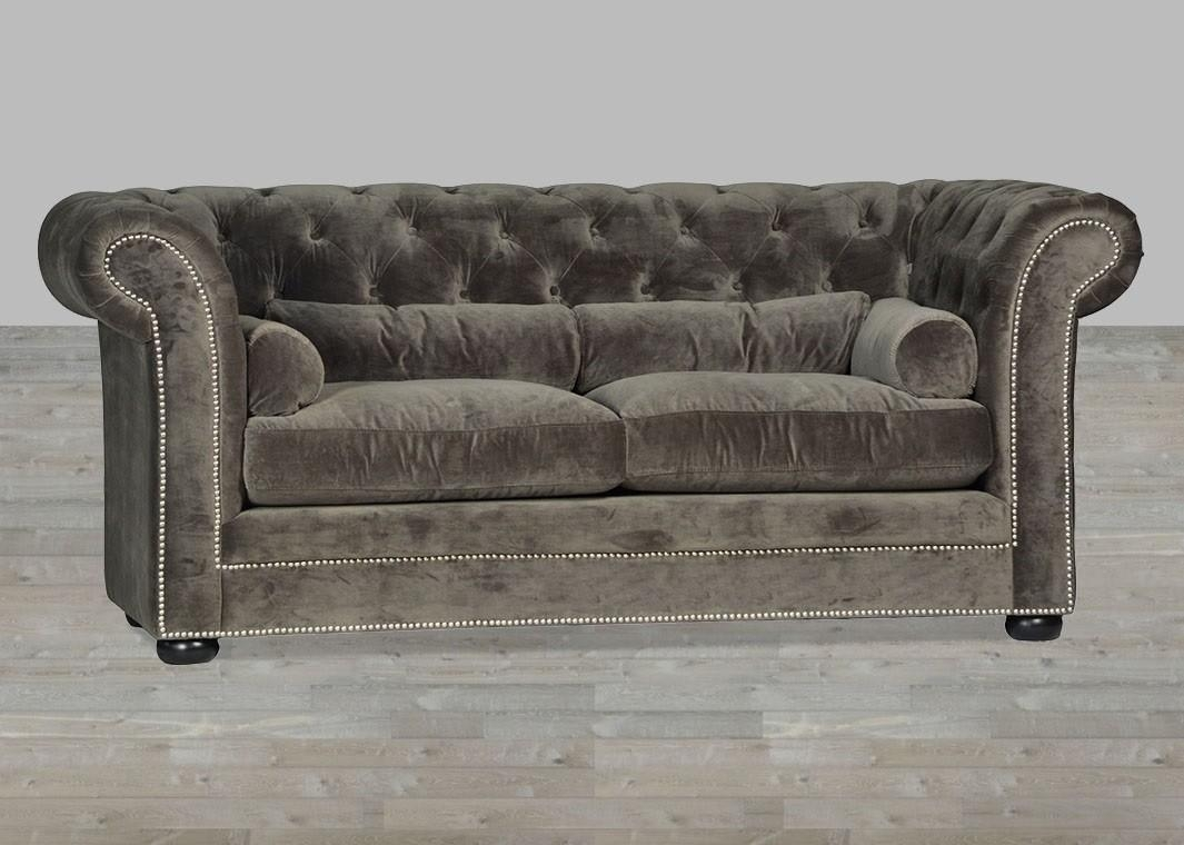 Velvet Sofa Chesterfield Style Silver Button Tufted Throughout Silver Tufted Sofas (Image 19 of 20)