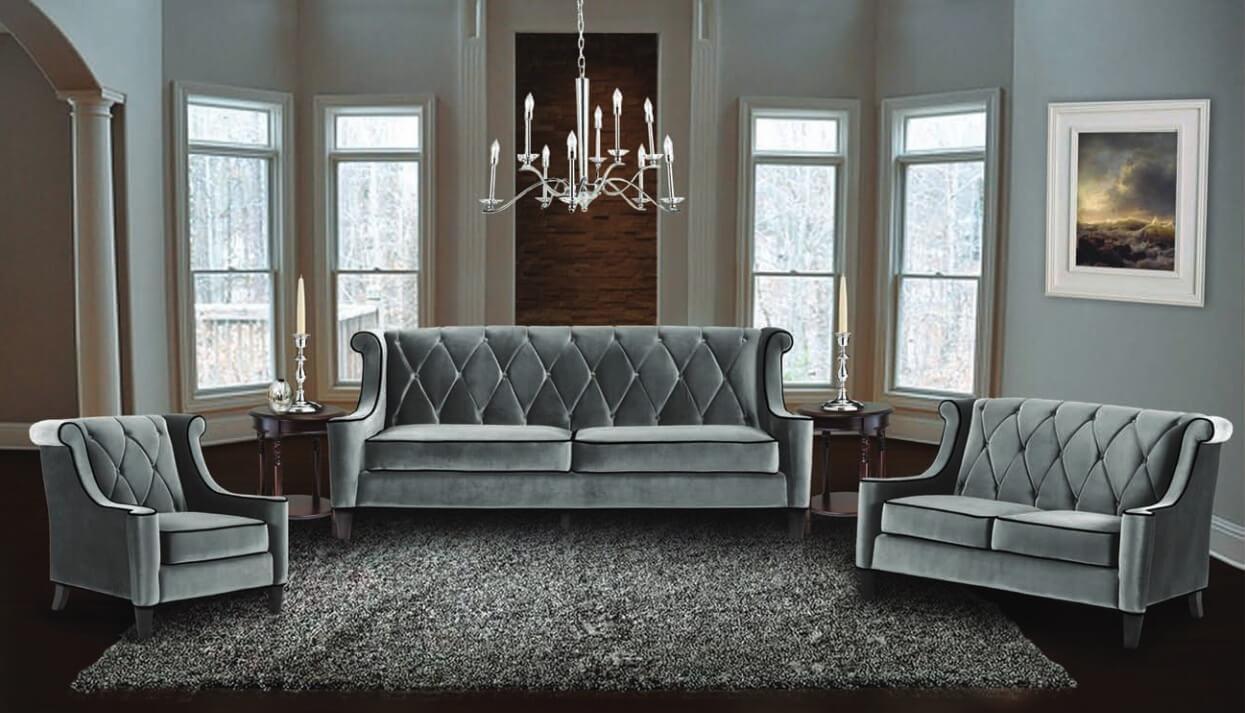 Velvet Sofa Set Calvin Crushed Velvet Fabric Sofa Set Black Silver In Barrister Velvet Sofas (View 5 of 20)