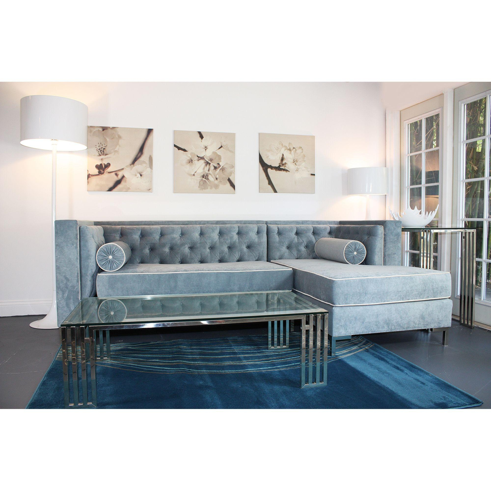 Velvet Tufted Sofa Sectional | Tehranmix Decoration with Tufted Sectional With Chaise