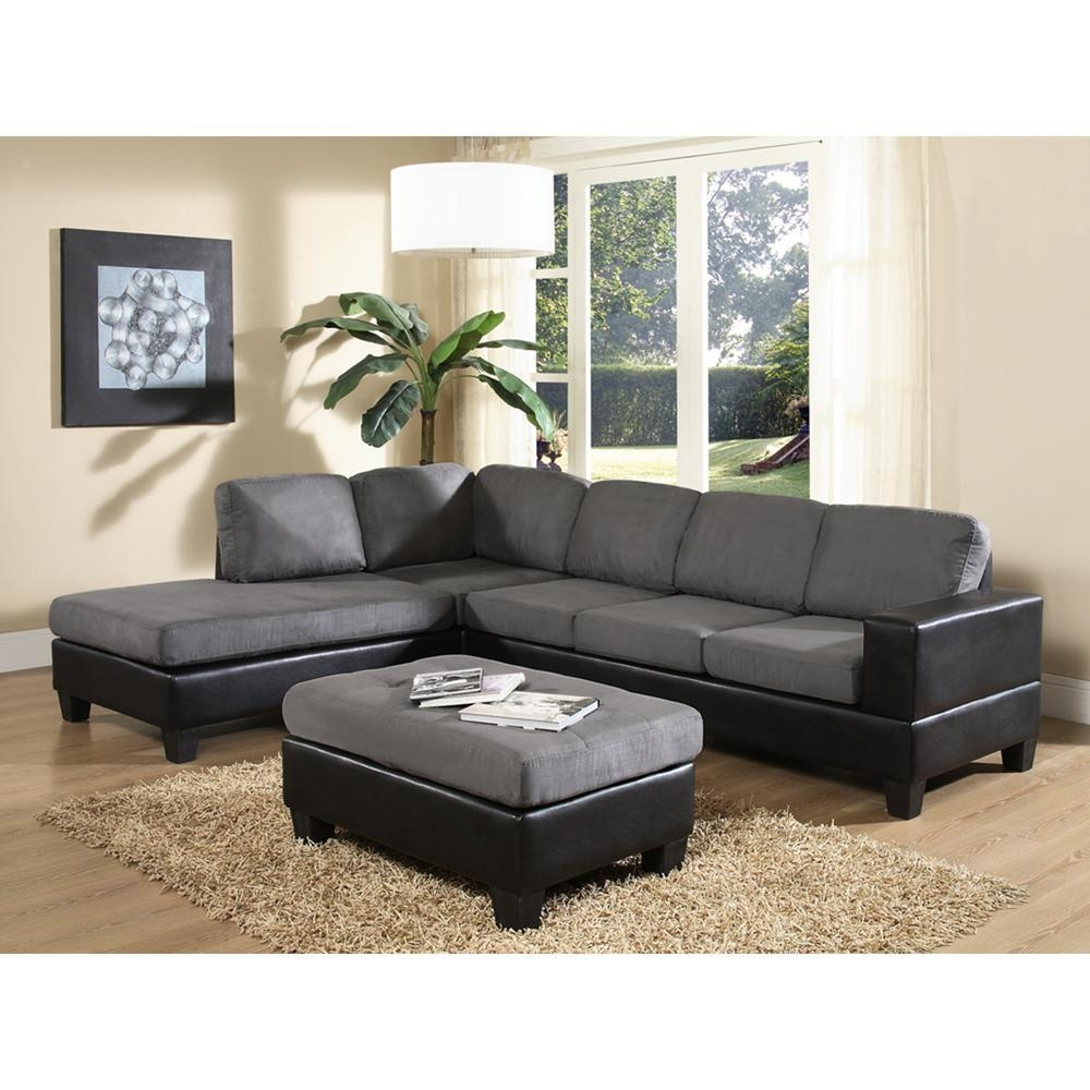Venetian Worldwide Dallin Gray Microfiber Sectional-Mfs0003-L pertaining to Microsuede Sectional Sofas