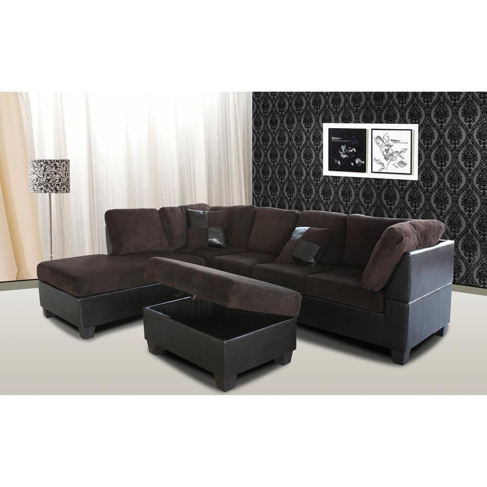 Venetian Worldwide Taylor 2 Piece Chocolate Brown Corduroy Within Chocolate Brown Sectional Sofa (Image 14 of 15)