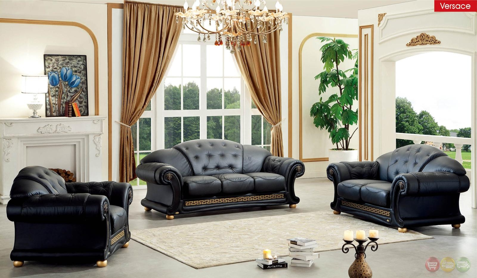 Versace Black Genuine Top Grain Italian Leather Luxurious Living With Regard To Living Room Sofas And Chairs (Image 19 of 20)