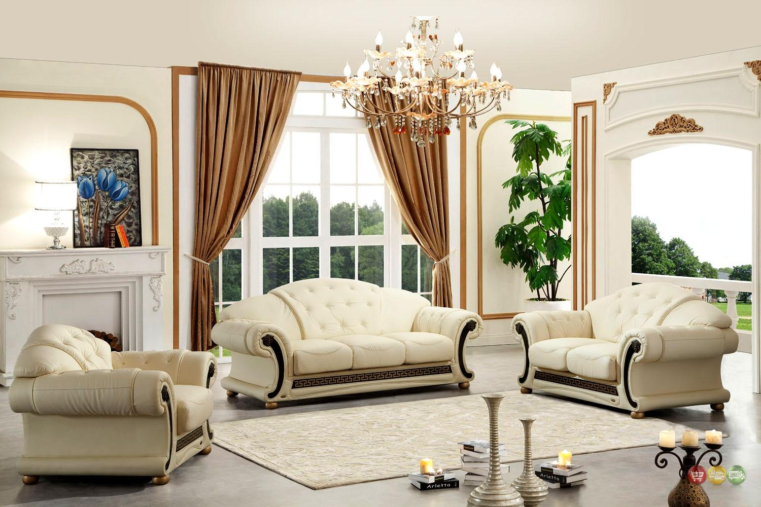 Versace Cleopatra Cream Italian Top Grain Leather Beige Living with Cleopatra Sofas