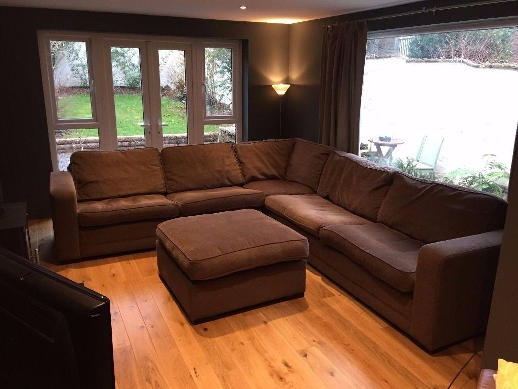 Very Large Fabric L Shaped Corner Sofa With Large Pouffe Stool Regarding Very Large Sofas (View 16 of 20)