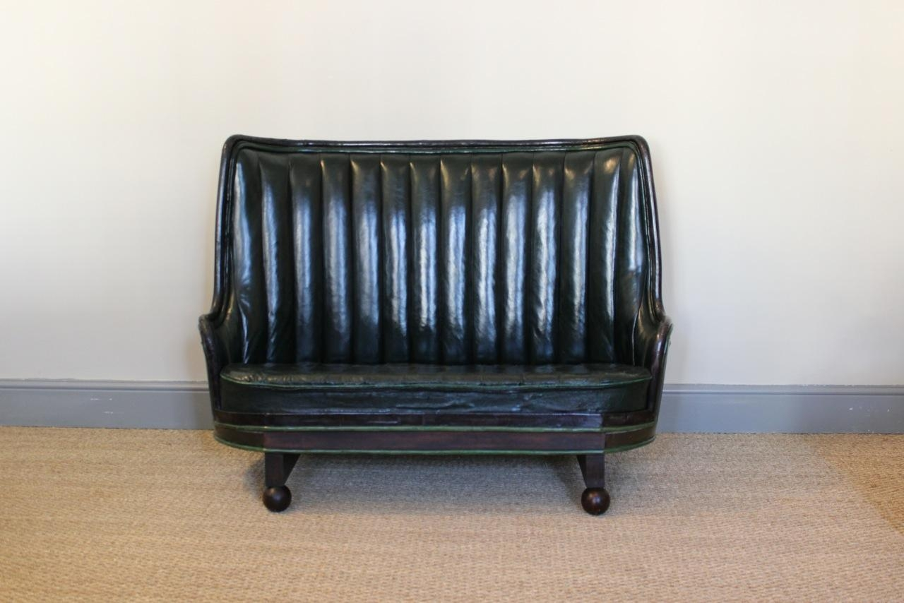 Very Unusual Circa 1930S Spanish Oak Barrel Sofa In Leather for 1930S Sofas