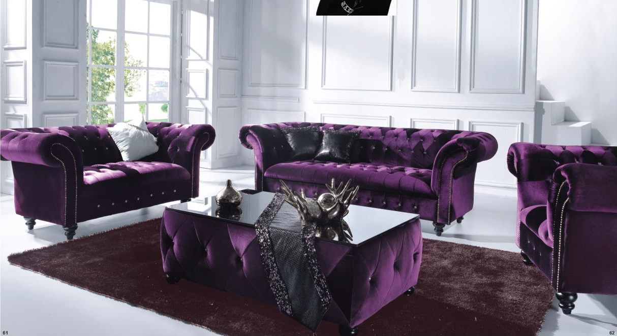Victoria 3 Seater Chesterfield Boutique Crush Purple Velvet Sofa for Velvet Purple Sofas