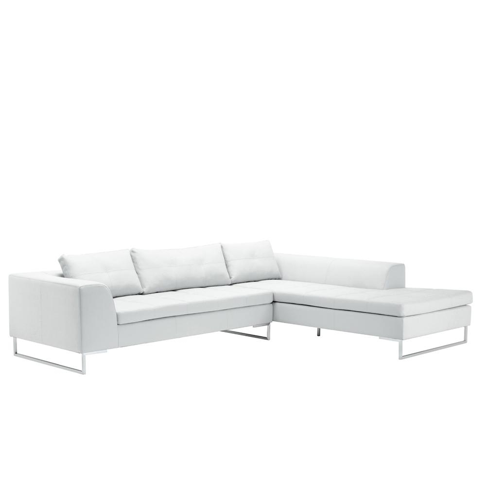 Vienna Leather Right Hand Corner Sofa White - Dwell pertaining to White Leather Corner Sofa