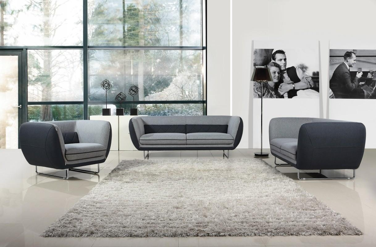 Vietta Modern Grey 2-Tone Fabric Sofa Set pertaining to Two Tone Sofas
