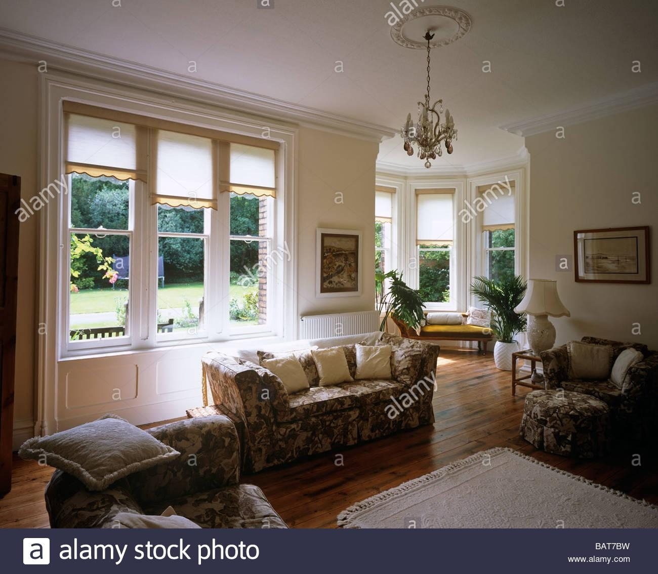 View Of A Large English Sitting Room With White Walls, Brown within Chintz Sofas