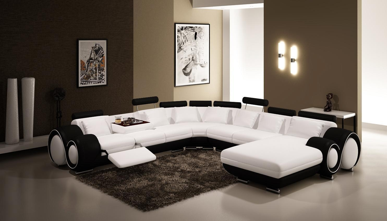 Vig Furniture 4084 Contemporary Black And White Leather Sectional Sofa for Black and White Sectional