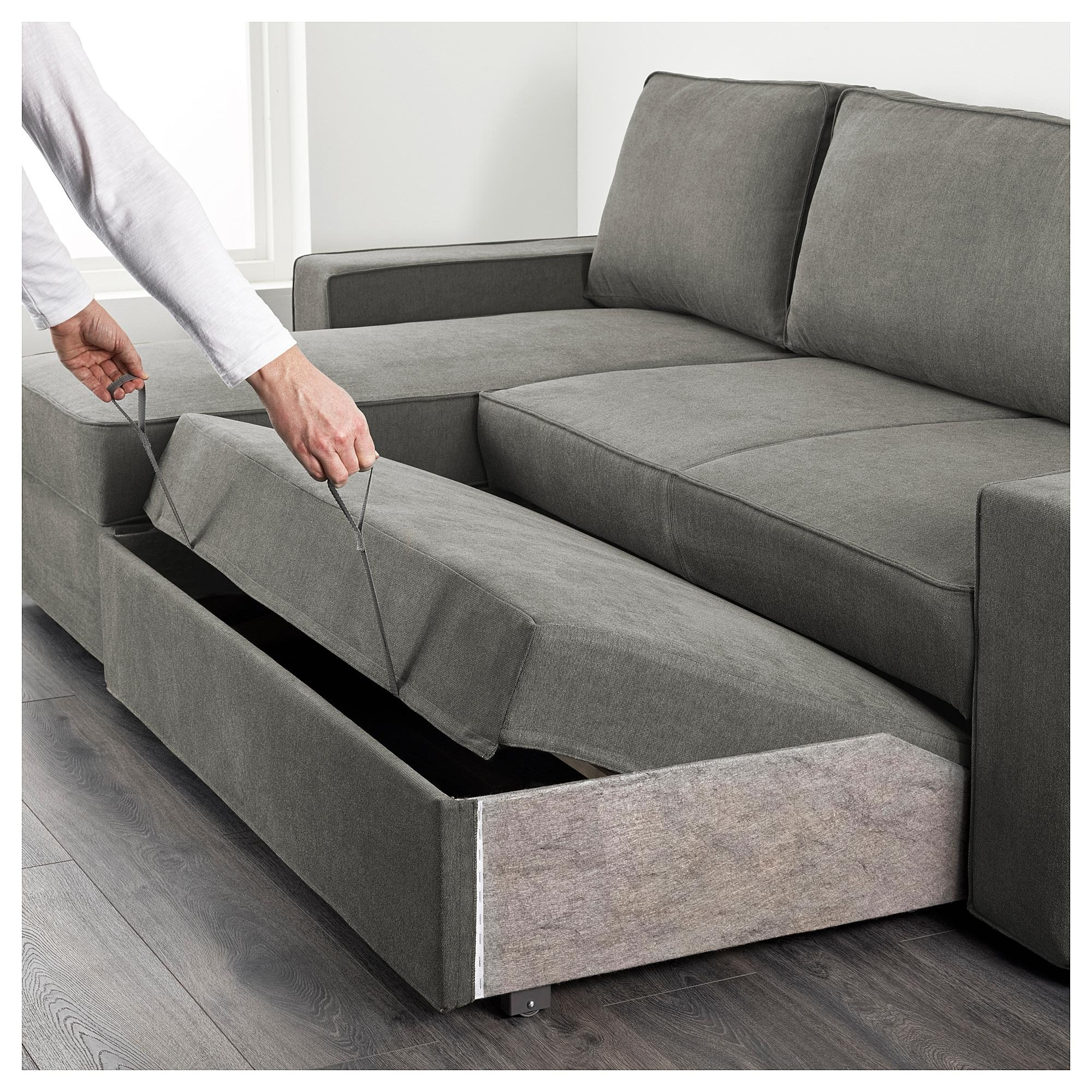 Vilasund Sofa Bed With Chaise Longue Borred Grey Green – Ikea For Chaise Longue Sofa Beds (View 3 of 20)