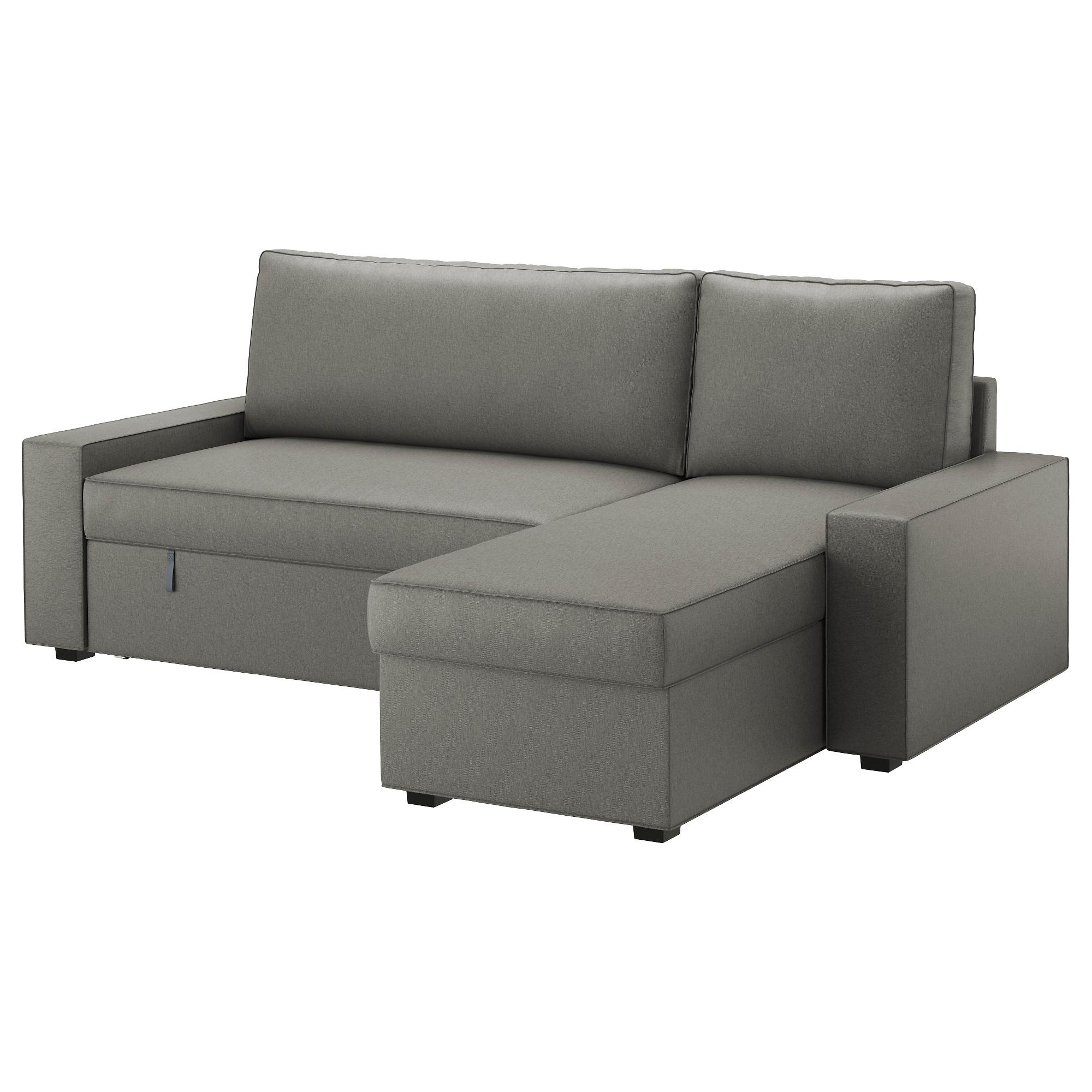 Vilasund Sofa Bed With Chaise Longue Borred Grey Green – Ikea Regarding Chaise Longue Sofa Beds (View 2 of 20)