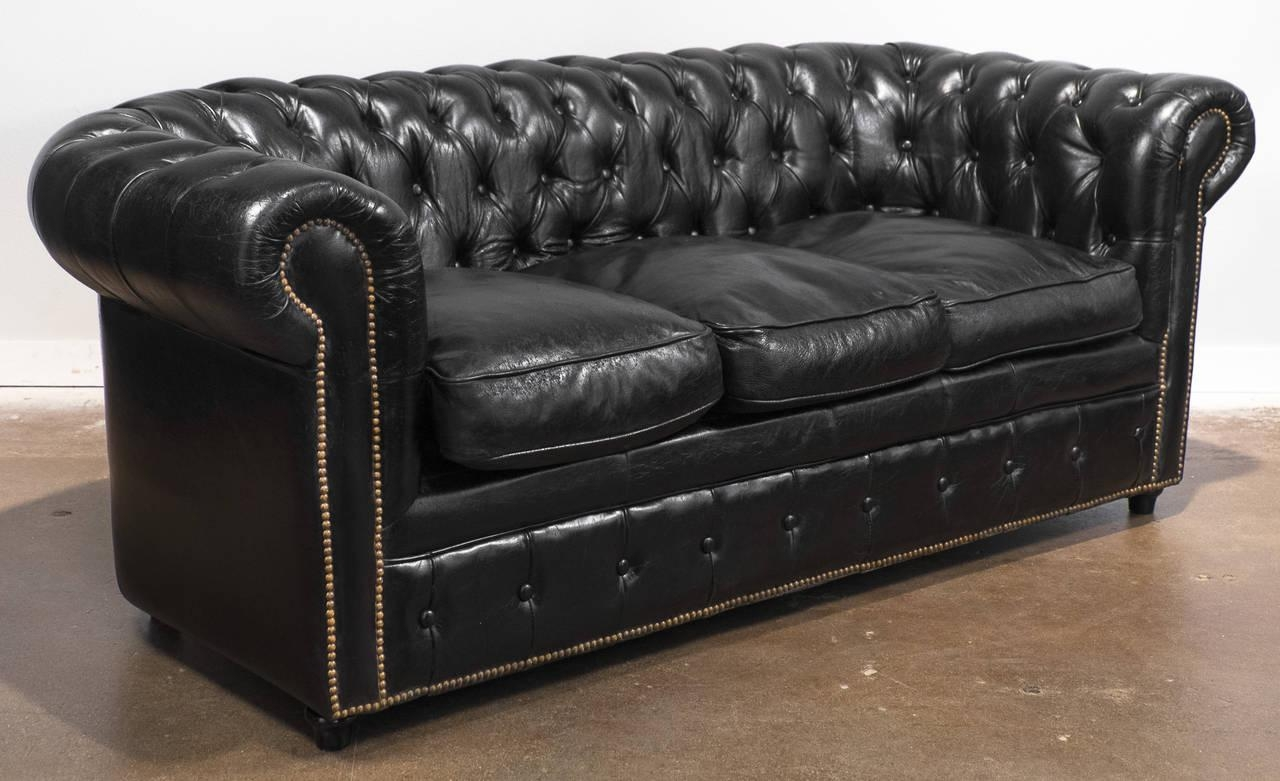 Vintage Black Leather Chesterfield Sofa At 1Stdibs throughout Leather Chesterfield Sofas