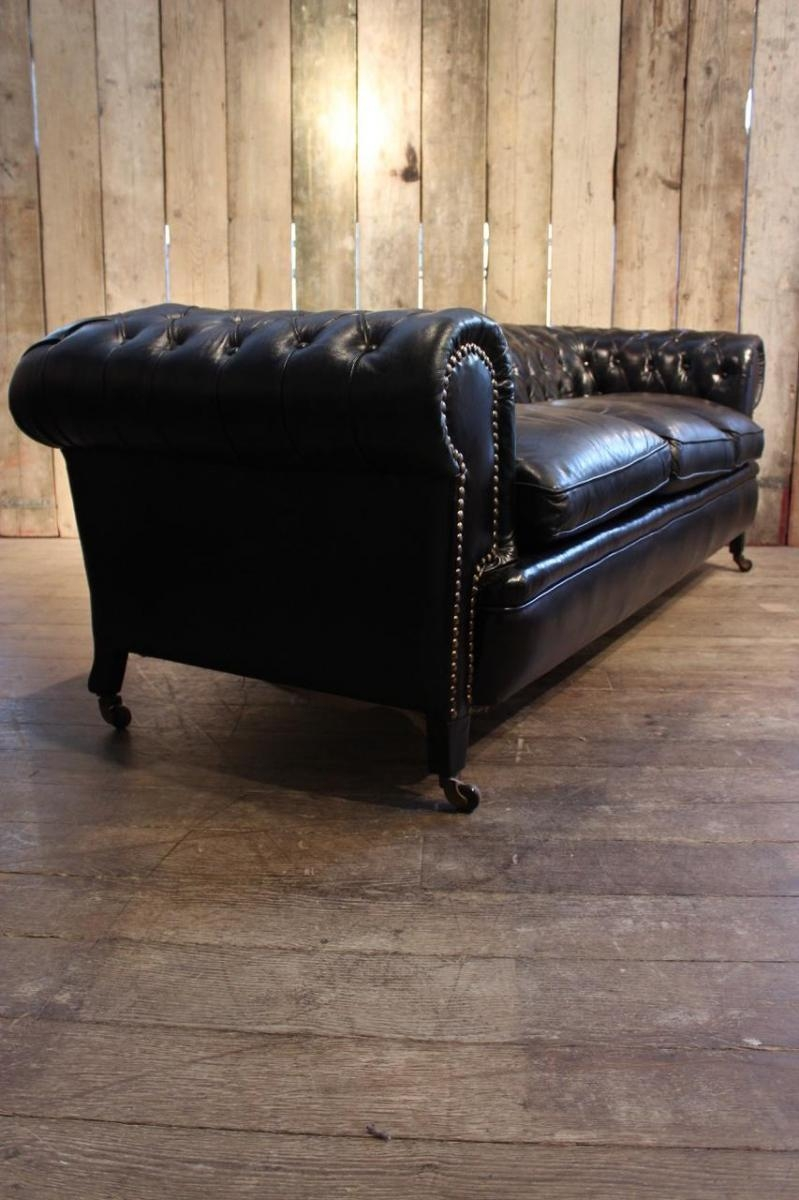 Vintage Black Leather Chesterfield Sofa For Sale At Pamono within Vintage Chesterfield Sofas