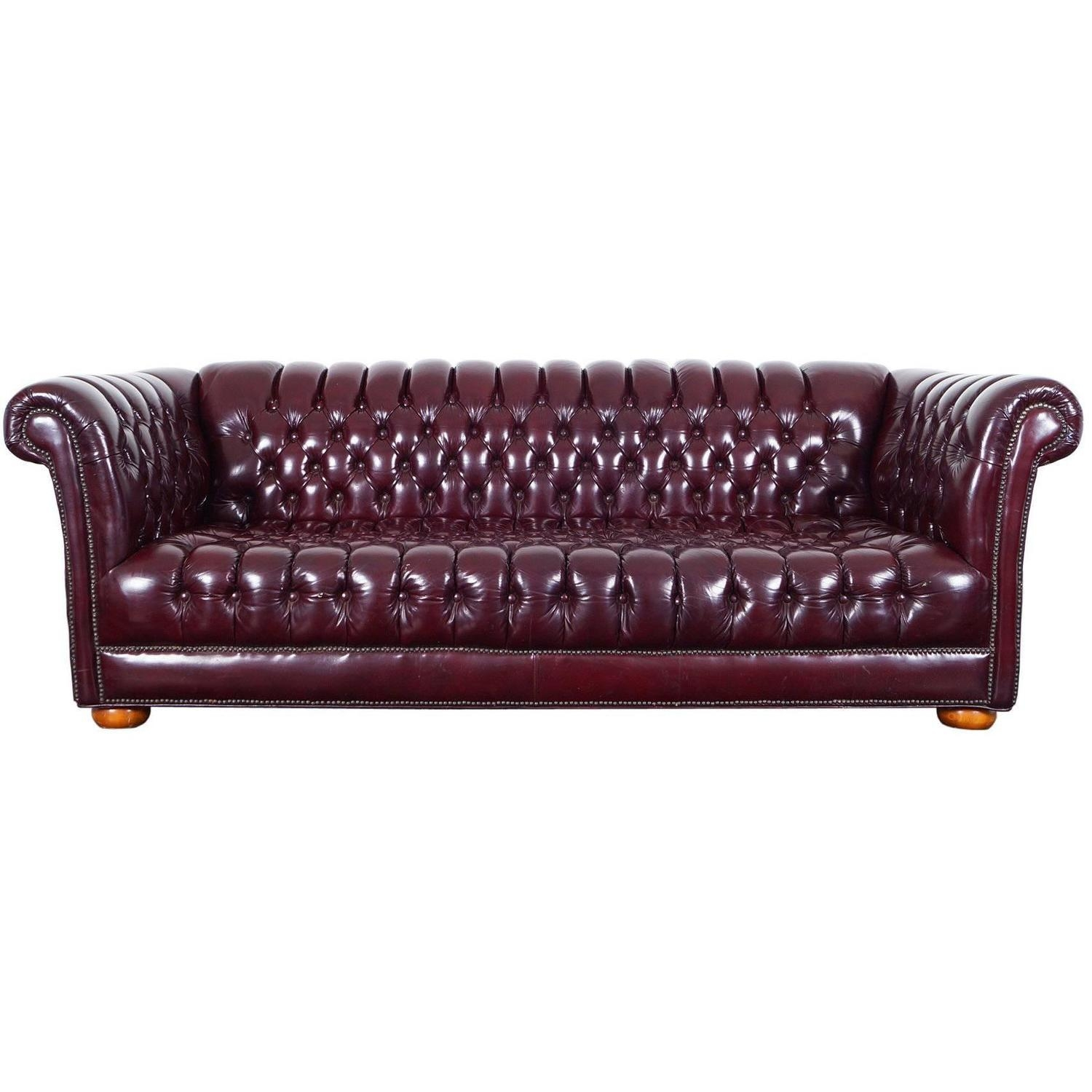 Vintage Burgundy Leather Chesterfield Sofa For Sale At 1Stdibs in Vintage Chesterfield Sofas