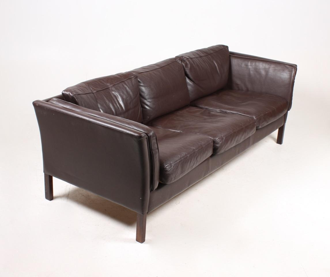 Vintage Danish Three Seater Leather Sofa, 1980S For Sale At Pamono With 3 Seater Leather Sofas (Image 20 of 20)