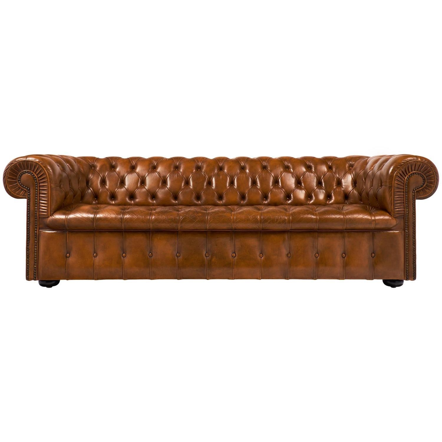 Vintage English Cognac Leather Chesterfield Sofa At 1Stdibs With Red Leather Chesterfield Sofas (Image 20 of 20)