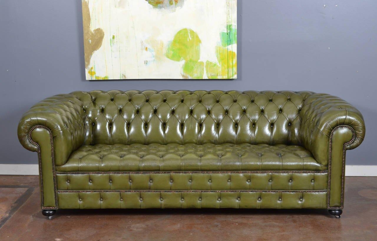 Vintage English Olive Green Leather Chesterfield Sofa At 1Stdibs Inside Vintage Chesterfield Sofas (Image 14 of 20)
