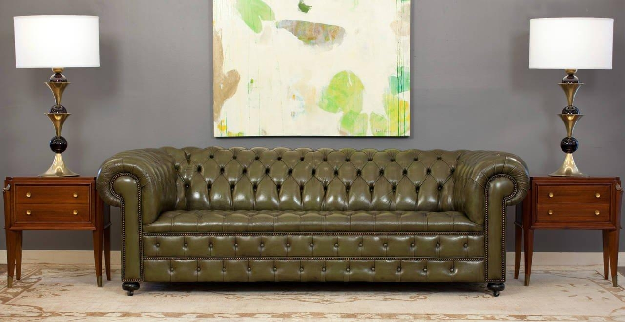 Vintage English Olive Green Leather Chesterfield Sofa At 1Stdibs throughout Vintage Chesterfield Sofas