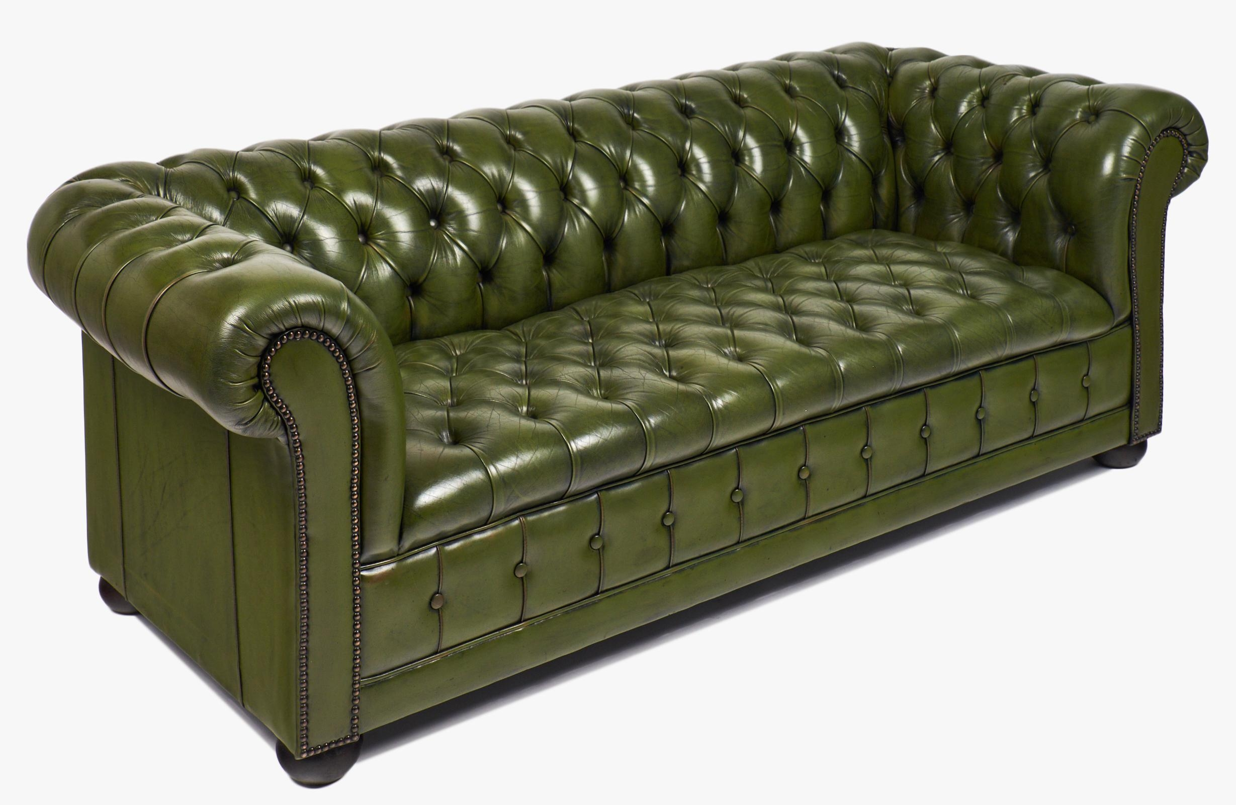 Vintage Green Leather Chesterfield Sofa - Jean Marc Fray throughout Vintage Chesterfield Sofas