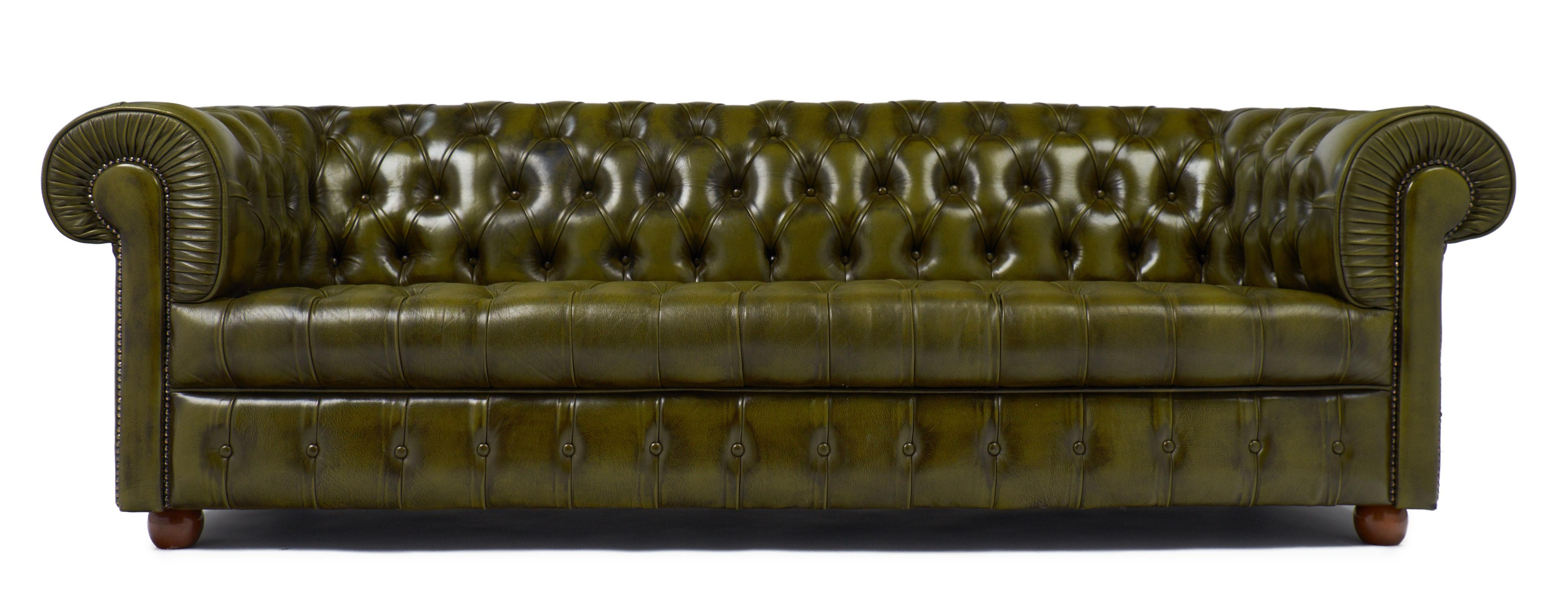 Vintage Green Leather English Chesterfield Sofa - Jean Marc Fray intended for Vintage Chesterfield Sofas