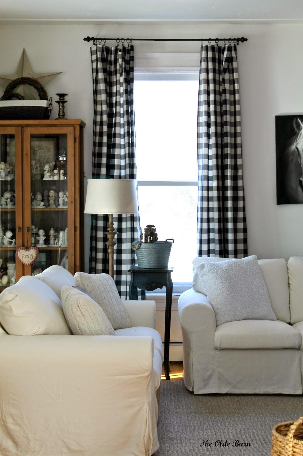 Vintage Living Room Black White Buffalo Check Curtainnels In Buffalo Check Sofas (Image 20 of 20)