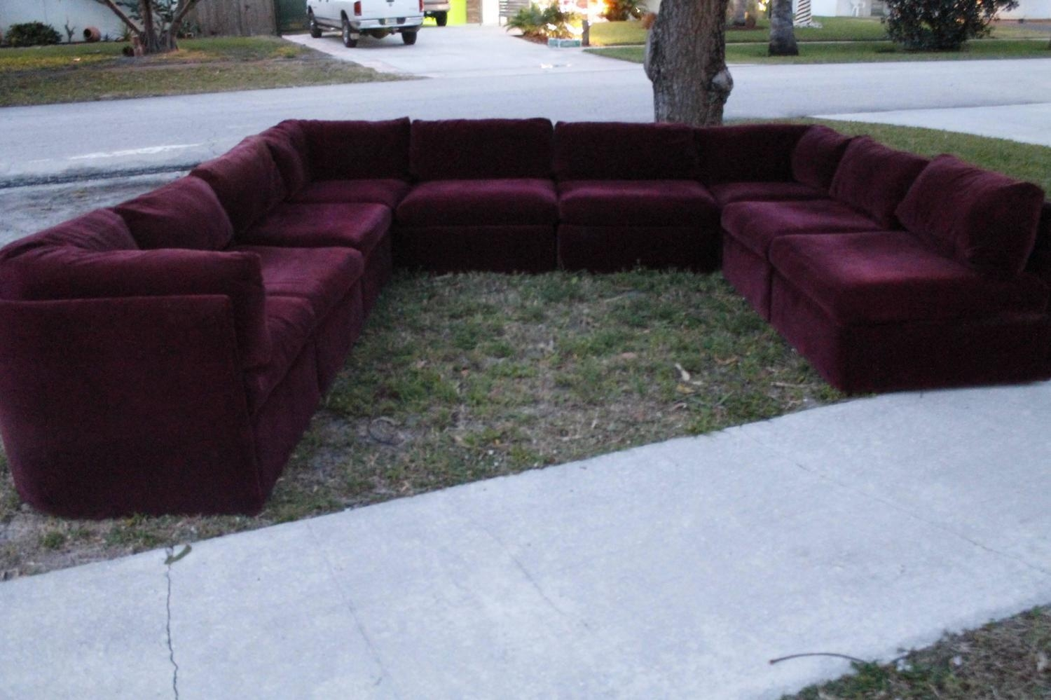 Vintage Milo Baughman Thayer Coggin 9 Piece Sectional Sofa In Burgundy Sectional Sofas (View 10 of 20)