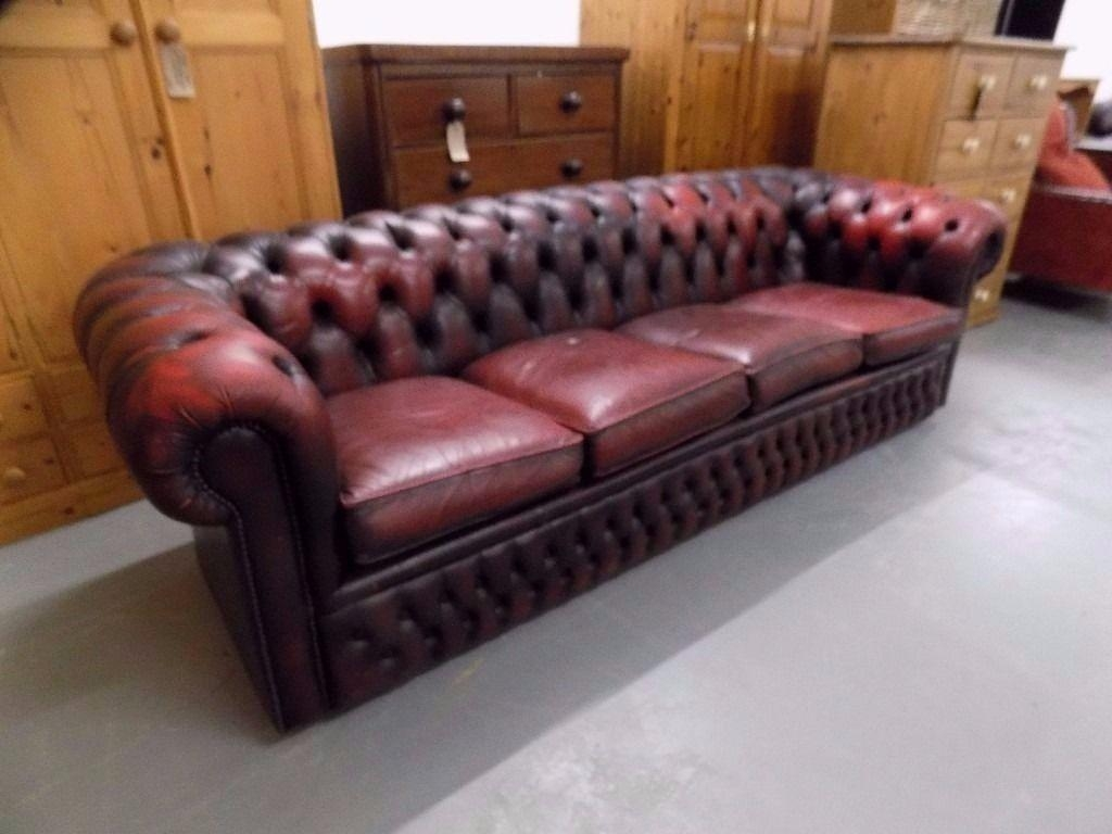 Vintage Ox Blood Red 4 Seater Leather Chesterfield Sofa | In For Red Chesterfield Sofas (Image 20 of 20)