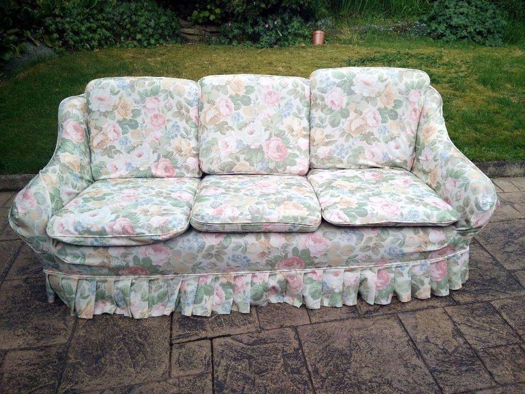 Vintage Retro 3-Seater Sofa In Chintz Floral Fabric | In Marple intended for Chintz Floral Sofas