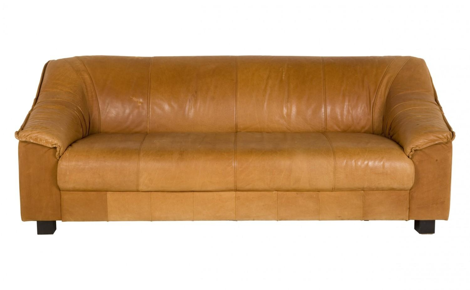 Vintage Tan Leather Sofa | Jayson Home Throughout Light Tan Leather Sofas (Image 20 of 20)