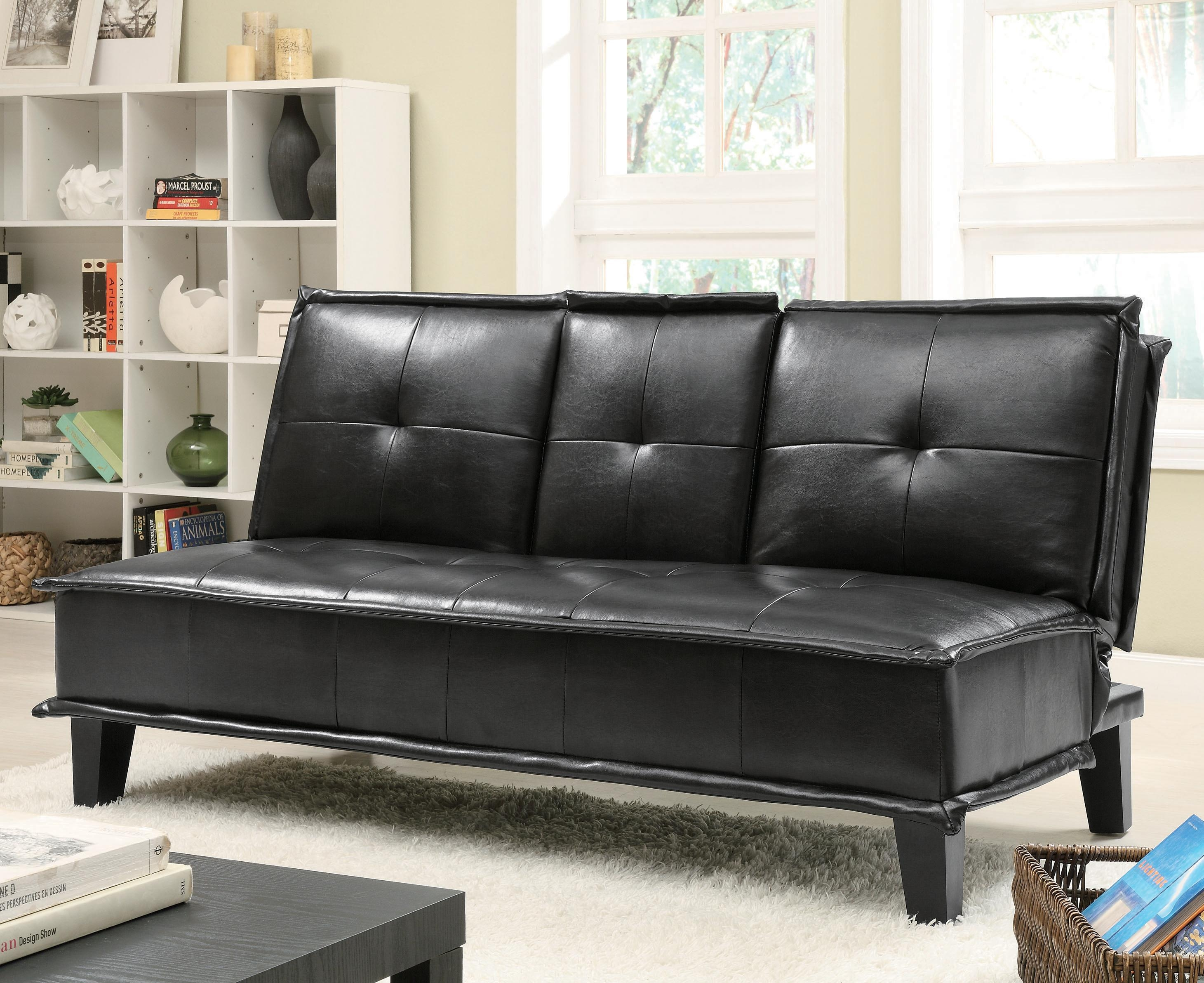 Vinyl Sofa Bed With Drop Down Table in Black Vinyl Sofas