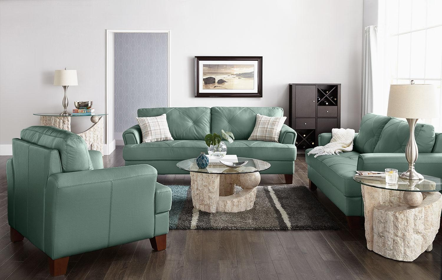 Bon Vita 100% Genuine Leather Sofa U2013 Sea Foam | The Brick Intended For Seafoam  Green