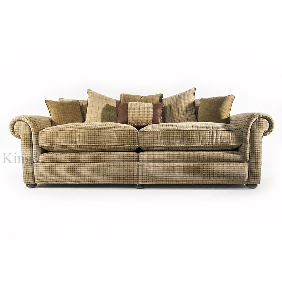 Wade Upholstery Barnaby Small Sofa Leather And Fabric Formal Back Pertaining To Tweed Fabric Sofas (Image 17 of 20)