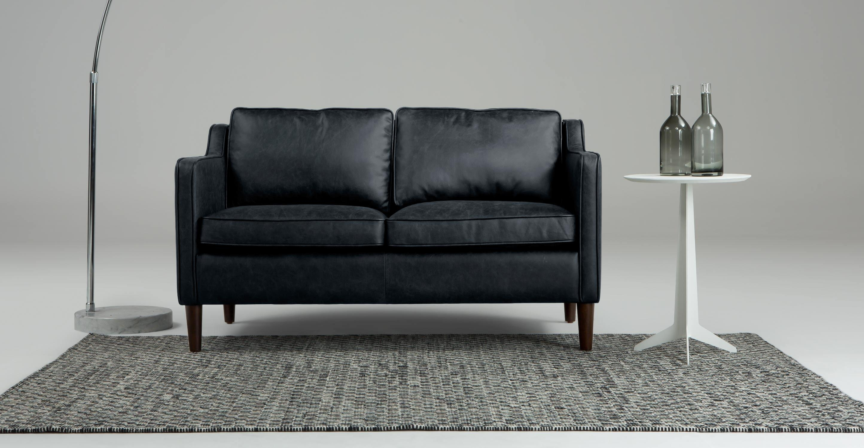 Walken 2 Seater Sofa In Black Premium Leather | Made For Black 2 Seater Sofas (Image 20 of 20)