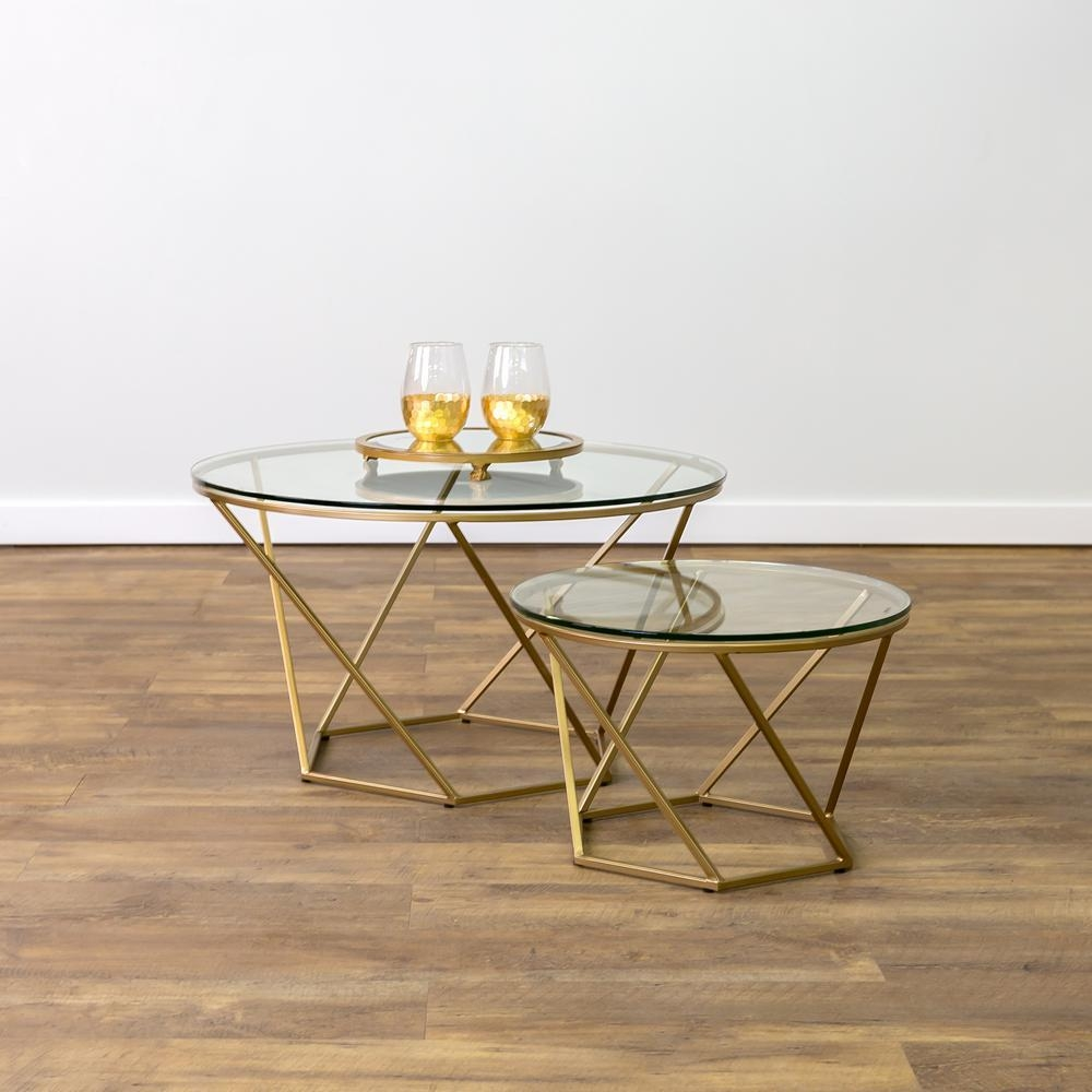 Walker Edison Furniture Company Geometric Glass Nesting Gold In Gold Sofa Tables (View 5 of 20)