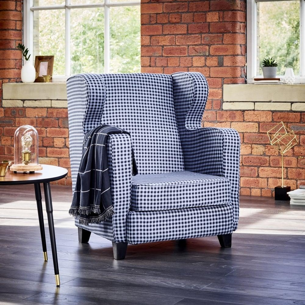 Wallace Sacks Blue Gingham Wingback Armchair Throughout Gingham Sofas (Image 20 of 20)
