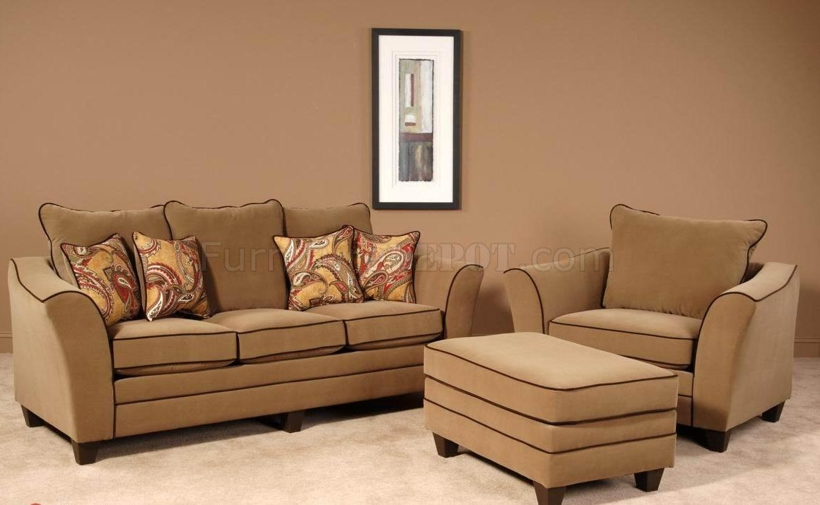 Walnut Fabric Modern Sofa & Chair Set W/options Throughout Sofa And Chair Set (Image 20 of 20)