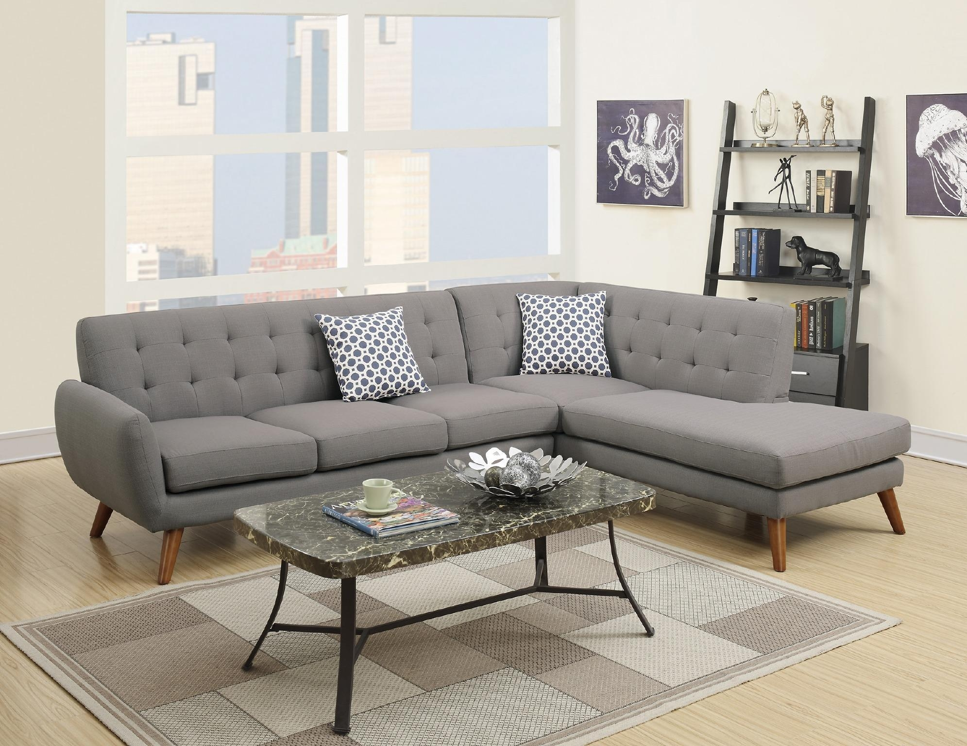 Wayfair, Ifin1345, Amazon, Poundex, F6953, Grey, Sectional, Sofa Regarding Retro Sectional Couch (View 5 of 20)