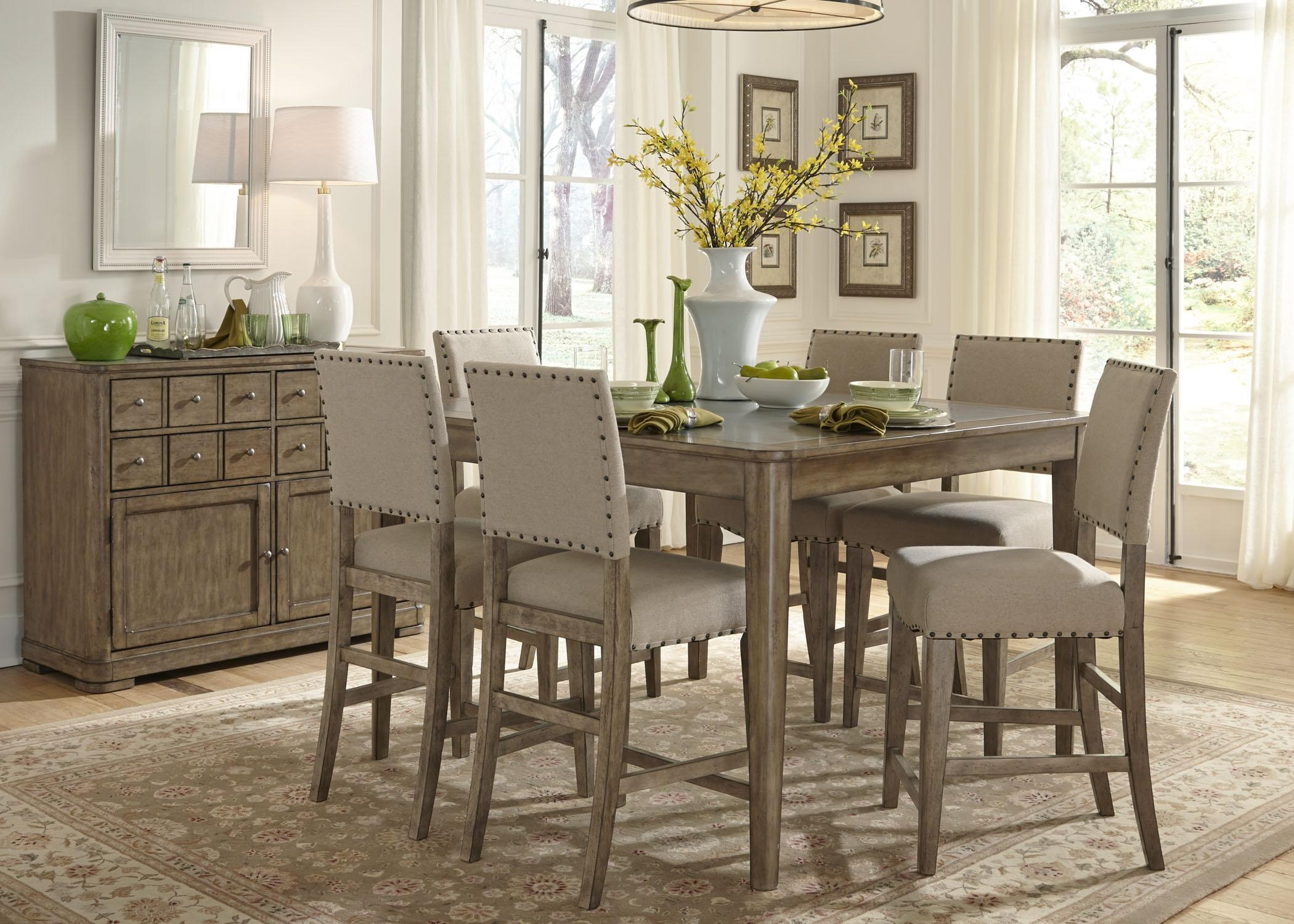 Weatherford Rustic Casual 6 Piece Dining Table And Chairs Set With Pertaining To Dining Table With Sofa Chairs (View 20 of 20)