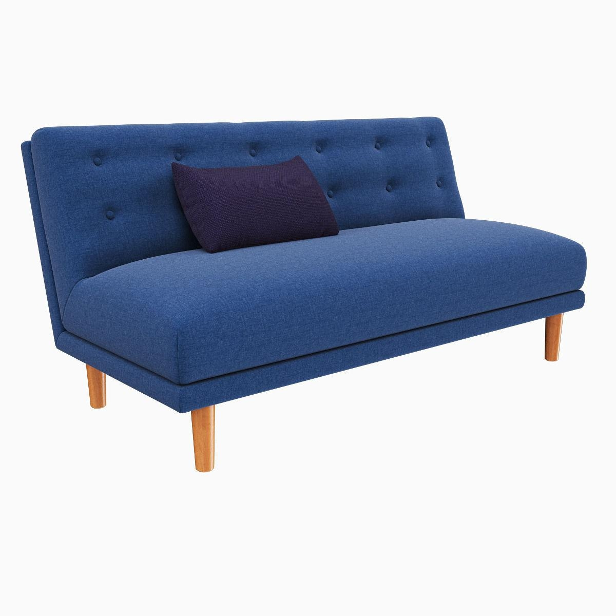 West Elm Rounded Retro Armless Sofa 3D Model Max Obj Fbx Mtl Regarding Rounded Sofa (View 3 of 20)