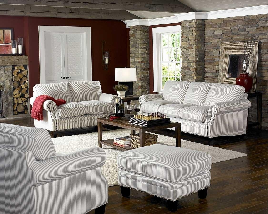 White & Blue Striped Fabric Cottage Style Sofa & Loveseat Set Within Blue And White Sofas (Image 19 of 20)