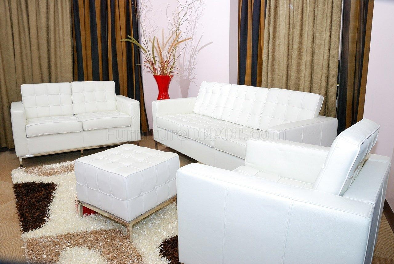 White Button Tufted Full Leather Sofa, Chair & Ottoman Set In Sofa Chair And Ottoman (Image 19 of 20)