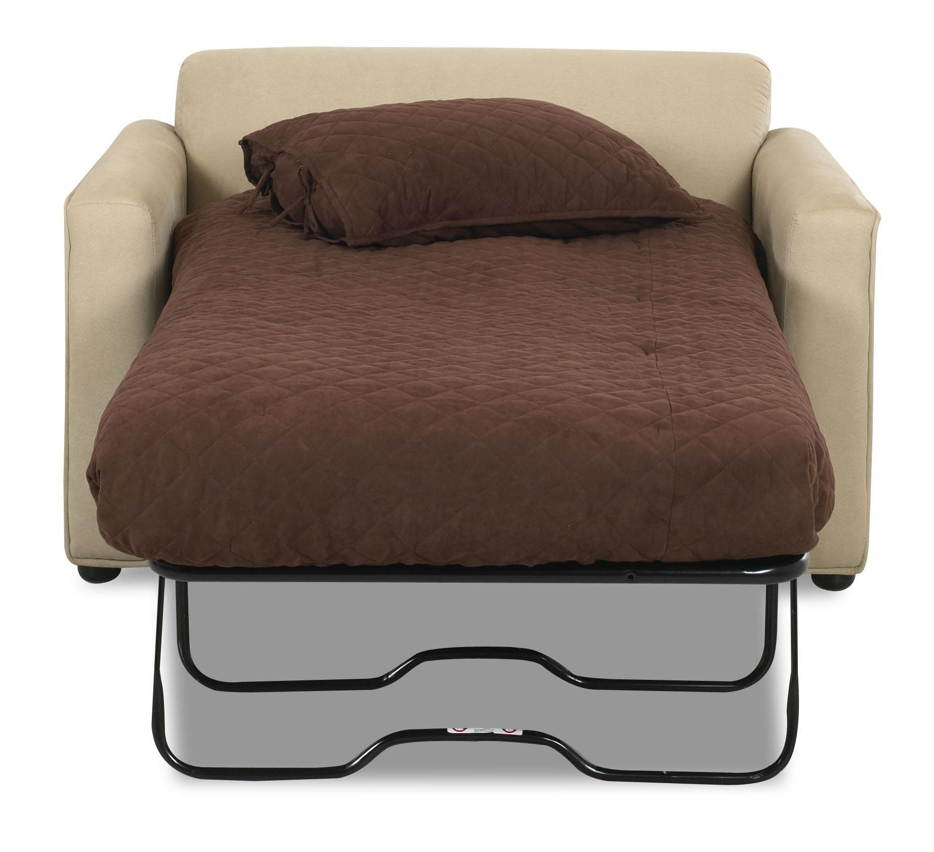 White Cream Color Leather Twin Size Sleeper Sofa Chairs With Fold With Regard To Twin Sleeper Sofa Chairs (View 4 of 20)