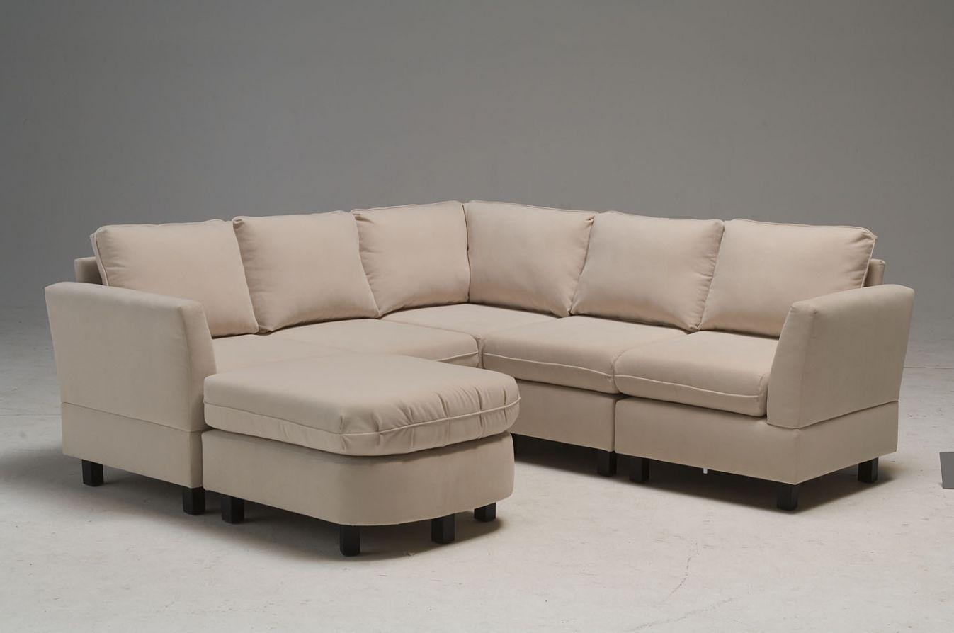 White Fabric Sofa With Cushions Also Side Board Completed With Pertaining To Short Sofas (Image 20 of 20)