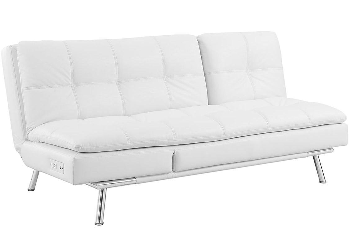 White Leather Futon Sofa Bed | Palermo Serta Euro Lounger | The With Regard To Euro Sofa Beds (View 12 of 20)