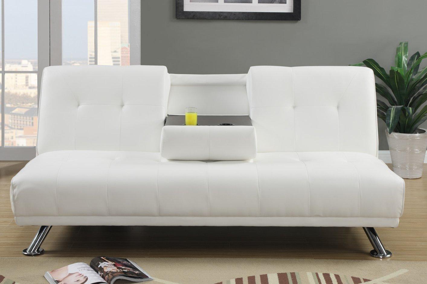 White Leather Futon Sofa Bed   Roselawnlutheran For Faux Leather Futon Sofas (View 16 of 20)