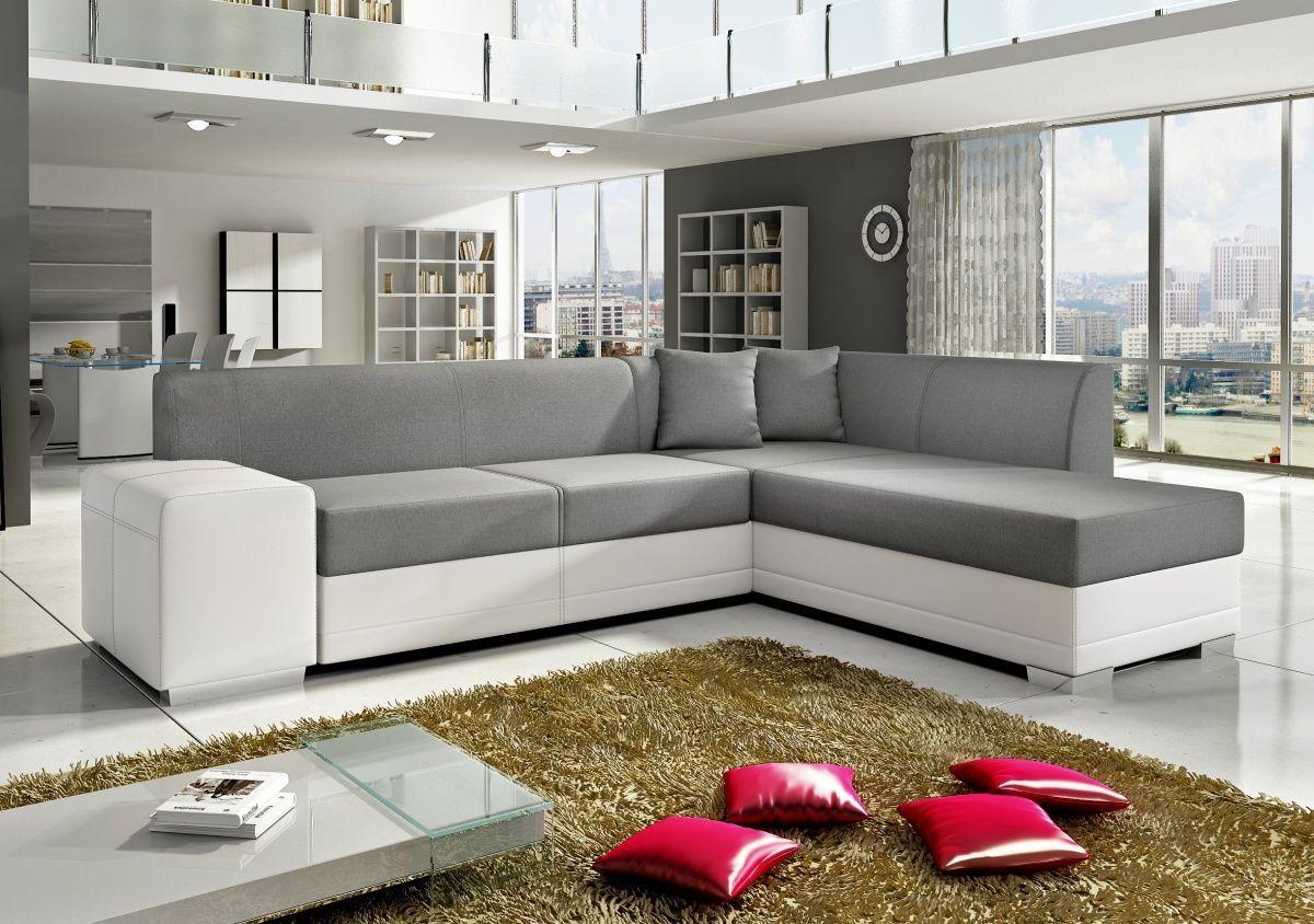 White Leather & Grey Fabric Corner Sofa Inside White Leather Corner Sofa (Image 18 of 20)