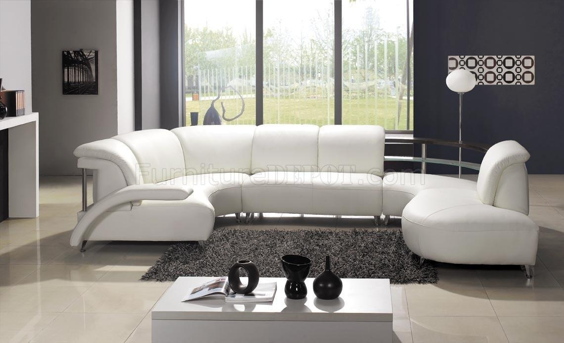 White Leather Modern U Shaped Sectional Sofa W/shelves Throughout U Shaped Leather Sectional Sofa (Image 20 of 20)