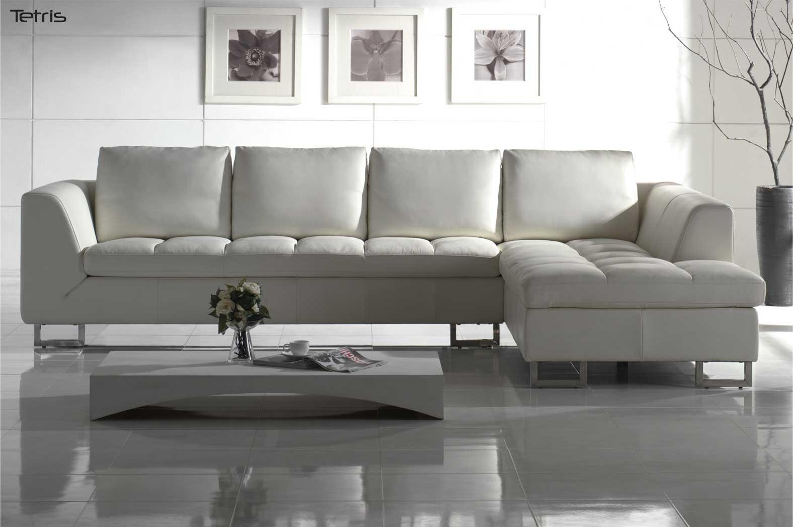 White Leather Sofa For Elegant Living Room – Traba Homes Pertaining To White Leather Sofas (Image 15 of 20)