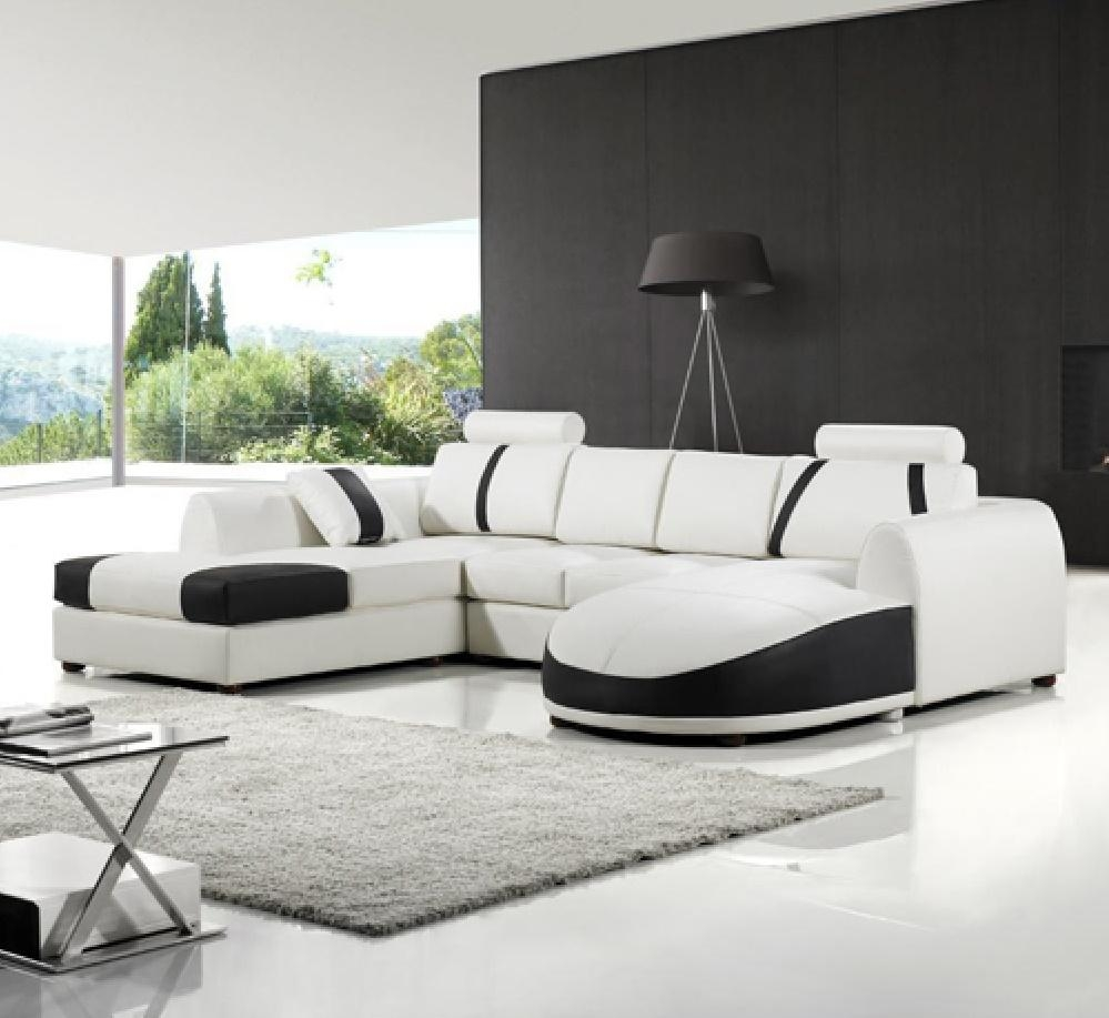 White Leather Sofa Set Intended For Black And White Leather Sofas (View 7 of 20)